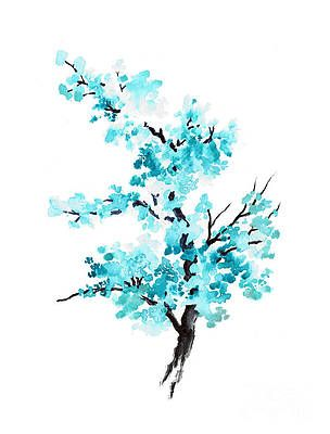 Blue Cherry Blossom Tree Watercolor Painting By Joanna Szmerdt Cherry Blossom Watercolor Cherry Blossom Painting Blossom Tree Tattoo