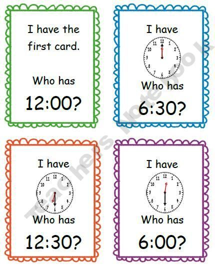 I Have Who Has - Time to the Hour and Half-Hour