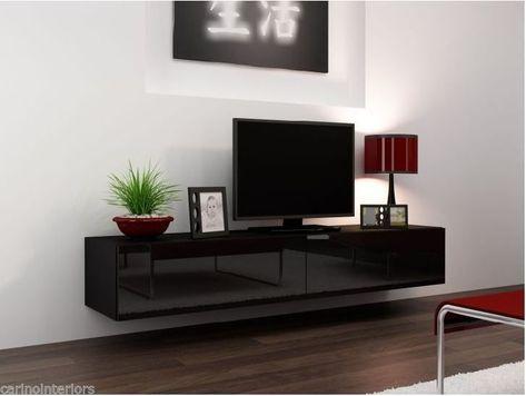 Tv Plasma Kast.Ego Tv Plasma Stand Floating Wall Mounted Living Room Unit Black