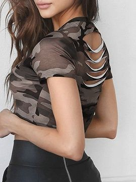 Army Green Camouflage Cut Out Crop Short Sleeve T-Shirt