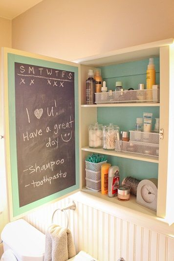 Never thought of painting the inside of a medicine cabinet! Love the chalkboard.