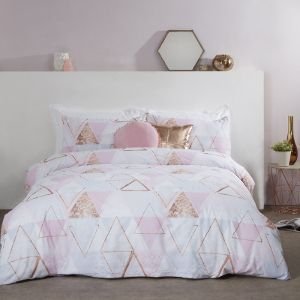 Abstract Bunting Metallic Print Duvet Cover And Pillowcase Set Girl Bedroom Decor Bedroom Decor Rose Gold Bedroom