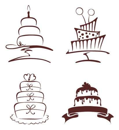 Illustration of Set of abstract cakes vector art, clipart and stock vectors.