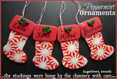 Peppermint candy stocking ornaments