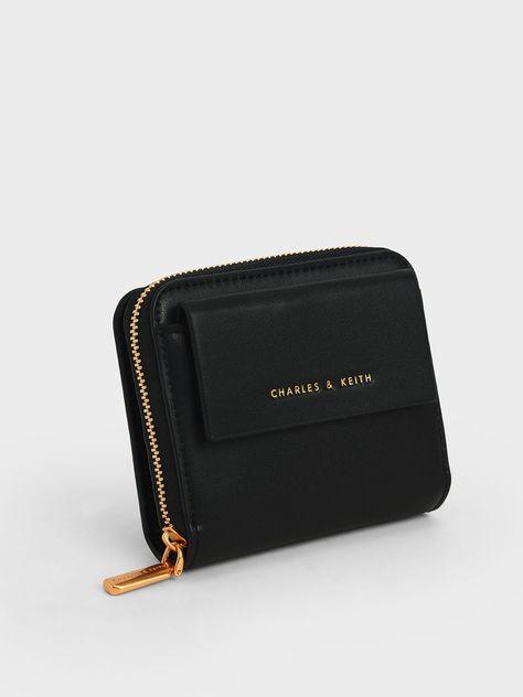 Front Flap Zip-Around Mini Wallet