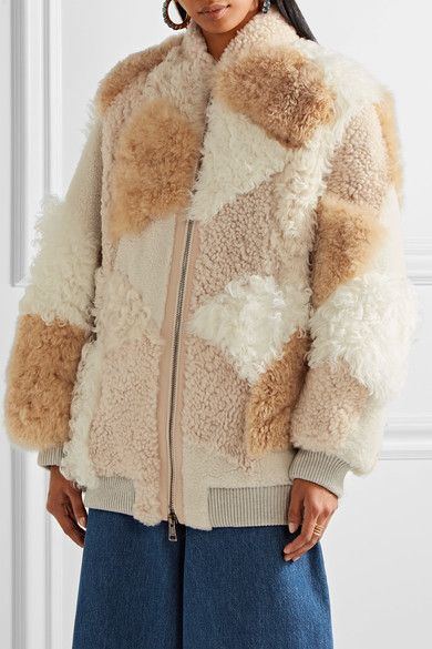 374bbafc32 Chloé | Oversized leather-trimmed shearling and alpaca coat | NET-A ...