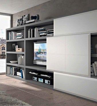 Resultat De Recherche D Images Pour Tv Derriere Panneau Coulissant Idee Per Decorare La Casa Arredamento Casa Arredamento Soggiorno
