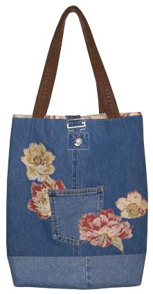 Black Denim Tote Bag with Tan Trim Beautiful Lining Upcycled Jeans Large pockets