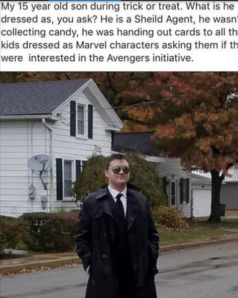 Dressing up as a S.H.I.E.L.D agent for Halloween