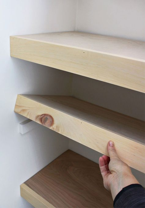 A DIY tutorial for making easy and pretty plywood shelves for your linen closet…. A DIY tutorial for making easy and pretty plywood shelves for your linen closet. Make your closet organized, functional and user friendly with shelves. Home Renovation, Home Remodeling, Closet Renovation, Plywood Shelves, Plywood Cabinets, Plywood Kitchen, Plywood Walls, Mdf Wood, Kitchen Floor