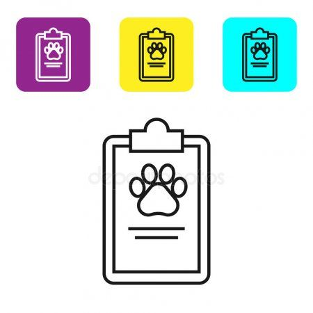 Black Line Clipboard With Medical Clinical Record Pet Icon