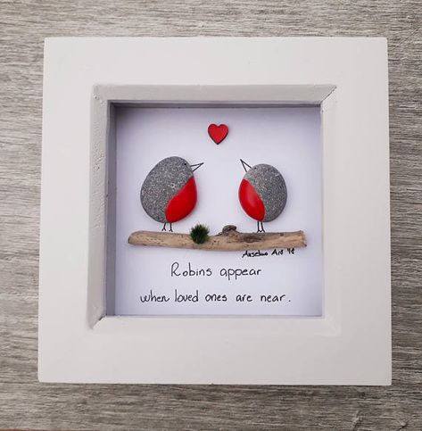 Grief and mourning for lost family member or friend. Remember your lost family member or friend with this unique pebble picture with robins. Robins representing lost friends or family members. ✿ Handmade pebble pictures from South Devon, UK ✿ Comes with black. white or light natural