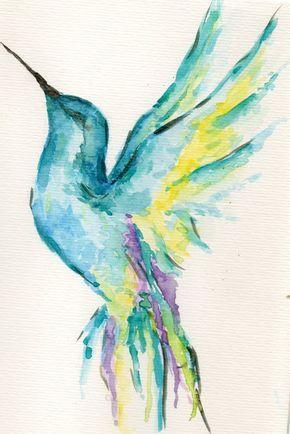 colibri de acuarela   #watercolor #colibri #pajaros #aves #acuarela
