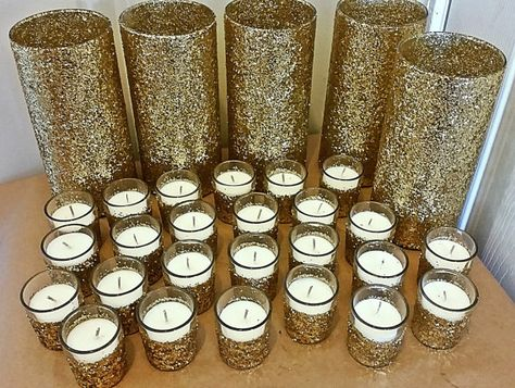 Wedding Centerpiece Set Includes: -25 Candles/Votive holders & 5 Vases per quantity selected. Candles & Vases are decorated your choice of glitter color and glitter is sealed. If you want the exact style in the photo, select glitter style #5. Measurements: 3.25 x 7.5 vases;