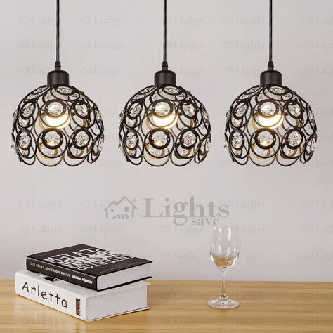 Black Wrought Iron And Crystal Three Light Modern Multi
