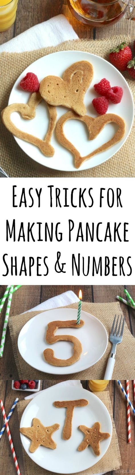 Perfect for Valentine's Day! Your kids will love these heart-shaped pancakes! So easy, fun and mess-free! Plus - tips for making other holiday shapes and birthday numbers, too! | www.TwoHealthyKitchens.com