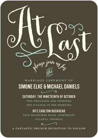 This modern invite is perfect for the couple who wants a modern, fun - best of invitation wording lunch to follow
