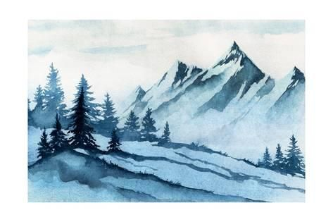 Art Print Watercolor Illustration Winter Mountains Landscape