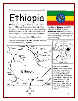 Ethiopia Printable Handout With Map And Flag Geography