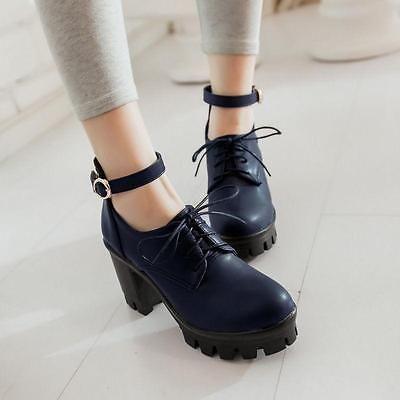 Gothic Women Punk Chunky High Block Heel Lace Up Lolita Platform Jane Shoes Work