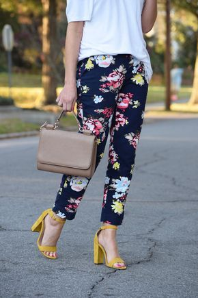 White top, floral pants, nude bag and yellow sandals - LadyStyle
