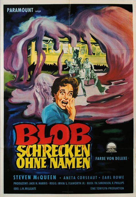 The Blob 24x36inch 1958 Horror Old Movie Silk Poster Cool Gifts Wall Decoration