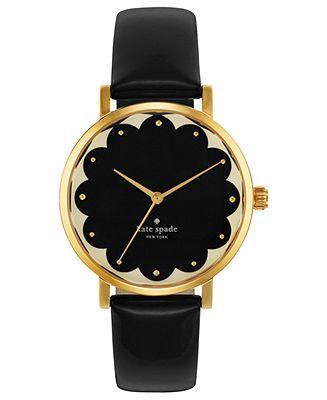 kate spade new york Watch, Women's Metro Black Leather Strap