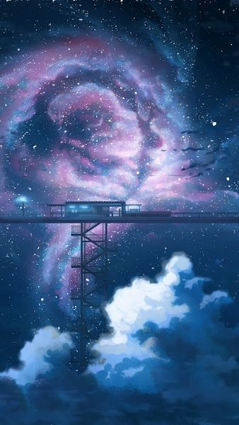 Anime Night Sky Stars Clouds Scenery 3840x2160 Wallpaper