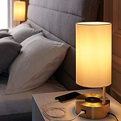 Lampression Table Lamp With Wireless Charger And Usb Charging Port For Bedroom Living Room Modern Bedside In 2020 Table Lamp Table Lamps For Bedroom Nightstand Lamp