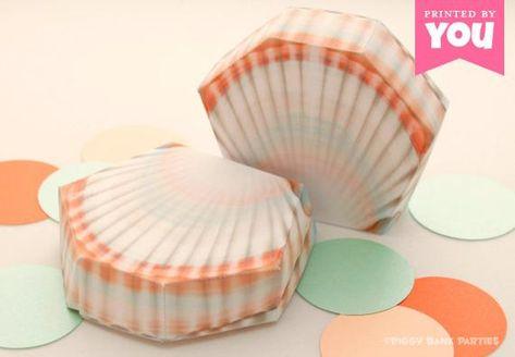 Shell Favor Box Diy Printable Sea Shell Pdf Instant Download