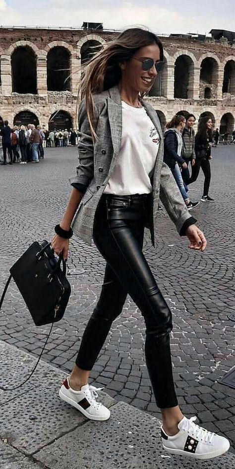 45 Flawless Fall Outfits To Copy This Moment / 31 So chic — really like the idea of a gingham jacket with leather trousers/pants and a sneaker women jackets down - Women's Jackets – How to Find the Best Jacket for You. Press VISIT link above for mor
