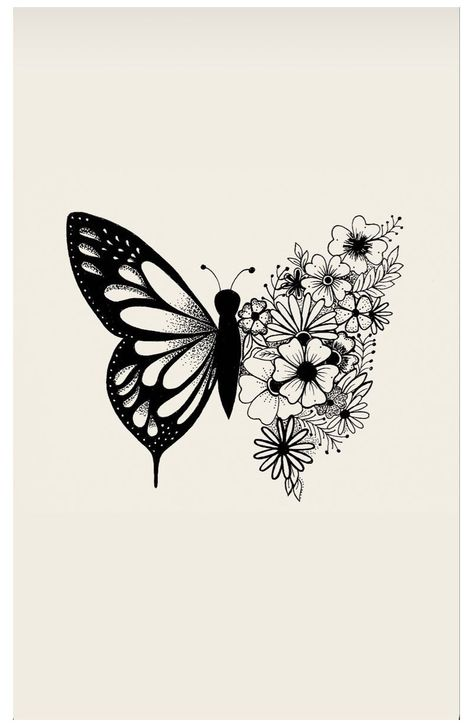 flower and butterfly drawing