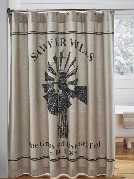 Sawyer Mill Charcoal Windmill Shower Curtain 72x72 In 2020