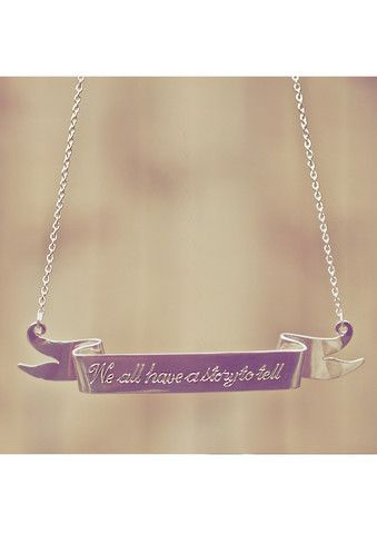 'We All Have A Story To Tell...' Scroll Sterling Silver Necklace by Mona Mara