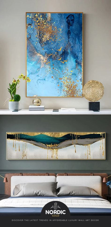 Golden Blue Sea Wall Art Fine Art Canvas Print Modern Abstract Marble Design Picture For Office Interior Living Room Luxury Art Decor - #abstract #canvas #design #golden #marble #Modern #print - #New