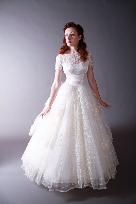 Vintage 1950s Wedding Gown  - Amazing Tiered Pale Ivory Tambour Lace Wedding Dress, via Etsy.