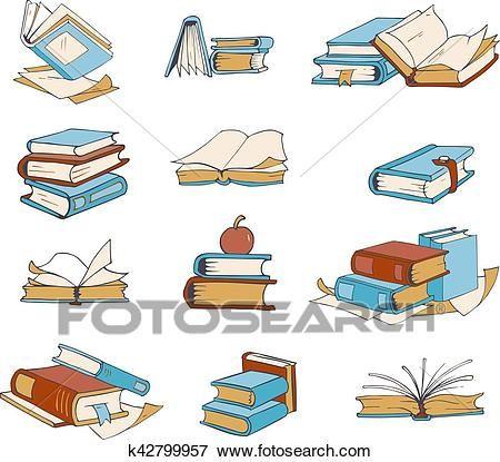 Griffonnage Livres Main Dessine Roman Encyclopedie Histoire Dictionnaire Vecteur Icones Clipart K42799957 Dessin Livre Ouvert Griffonnages Dessin