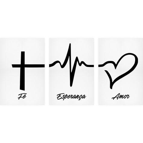Quadro Fé, Esperança e Amor - Branco - Kit de 3 Telas Retangulares