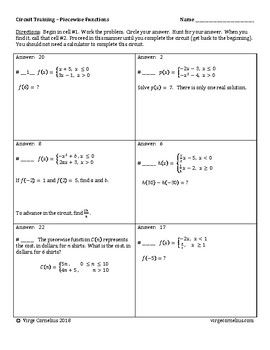 Circuit Training Piecewise Functions Algebra With Images