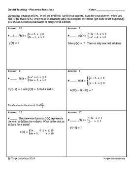Circuit Training - Piecewise Functions (algebra ...
