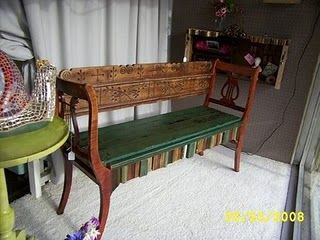 repurposed chair backs, headboard, shelf - #repurposed, #bench