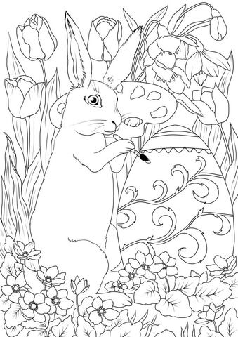 Easter Rabbit Is Decorating An Egg Coloring Page Easter Coloring