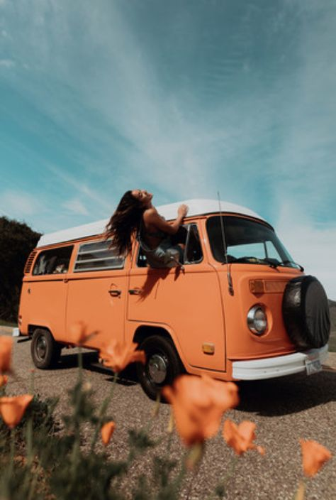 "Rent this beautiful VW Bus, ""George"" today with Vinty! Vintage Volkswagen Bus, Bus Vw, Volkswagen Westfalia, Vw Vintage, Volkswagen Beetles, Caravan Vintage, Volkswagen Golf, Orange Aesthetic, Summer Aesthetic"