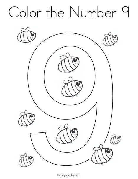Color The Number 9 Coloring Page Twisty Noodle Numbers Preschool Coloring Pages Number 9