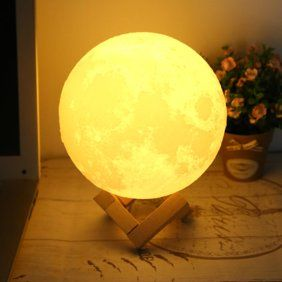 7 1 Large Moon Light 3d Printing Moon Lunar Led Night Light Lamp With Wooden Stand White Walmart Com In 2020 Night Light Lamp Lamp Led Night Light