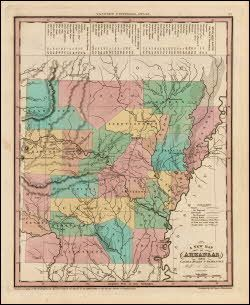 Arkansas Antique Map Tanner Philadelphia Usa Antique Maps - 1836 maps us