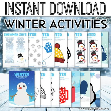 Winter Printables For kids, Winter Party Games, Winter Bingo Games, Snowman Says Game, Winter Scavenger Hunt
