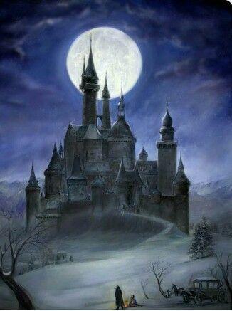 Burg Bei Nacht Mit Wandersleuten Fantasieschloss Castle In The Sky Dunkles Schloss