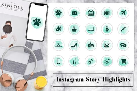 Blue Watercolor Instagram Icons