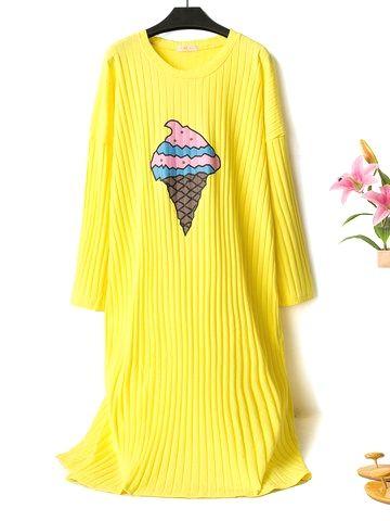 Plus Size Cotton Pajamas Cartoon Print Striped Long Sleepwear Nightdress In 2020 Night Dress Fashion Print Pajamas